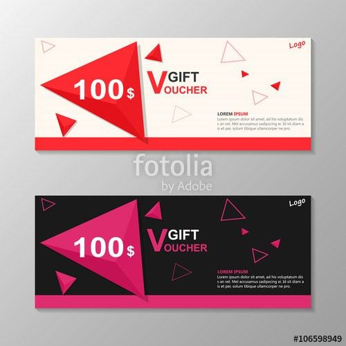 Triangle Premium pink purple gift voucher template layout design ...