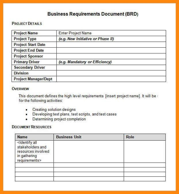 8+ requirements document template | nurse resumed