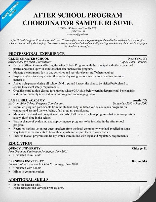 after school program coordinator resume after school program