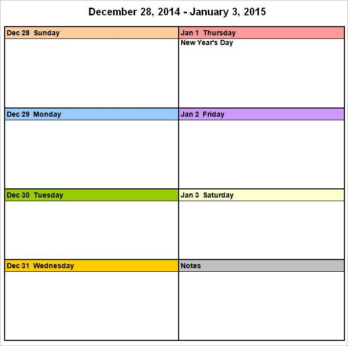 Week Calendar Template - 9 Free Word Documents Download | Free ...