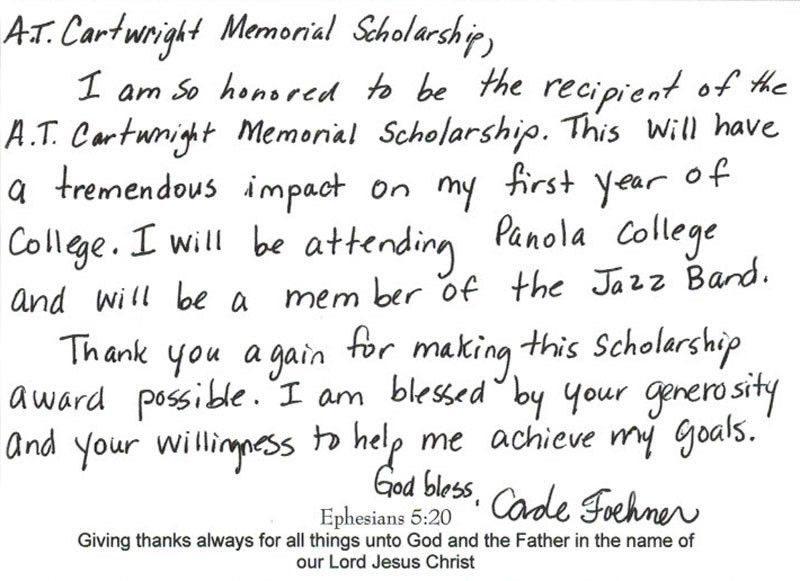 SCBA 2015 Scholarship Thank-You Letters