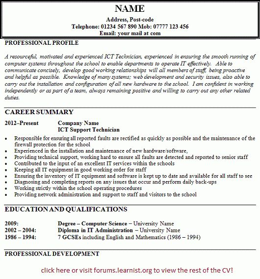 ICT Technician Support CV Example - forums.learnist.org