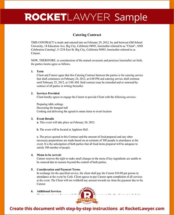 6+ Catering Contract Template | Timeline Template