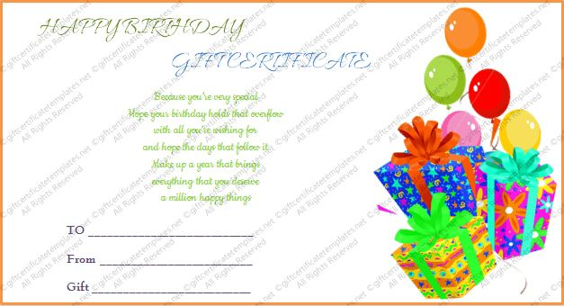 Printable Gift Bumper Birthday Gift Certificate Template