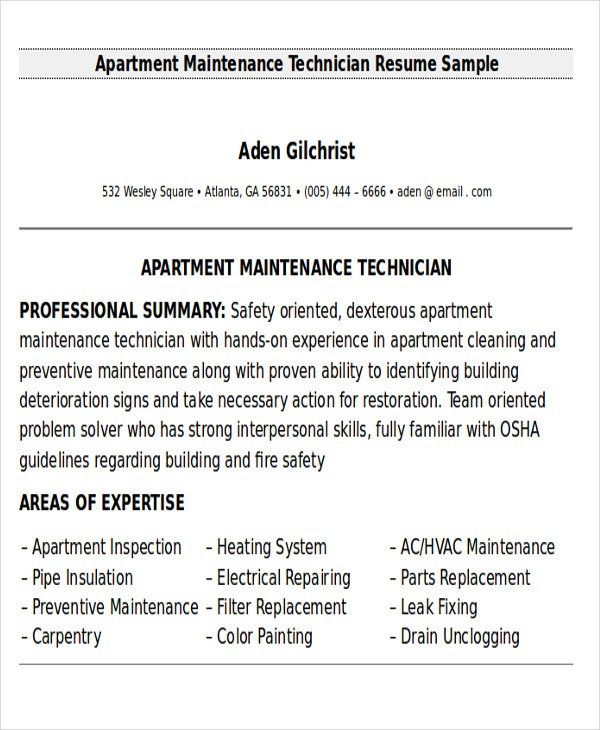 Apartment Maintenance Manager Resume Sample. maintenance mechanic ...