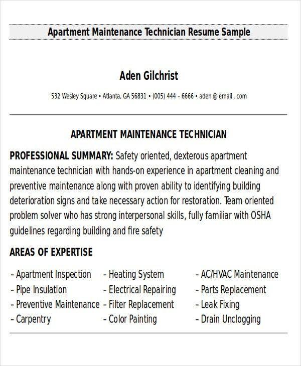 apartment maintenance supervisor resume