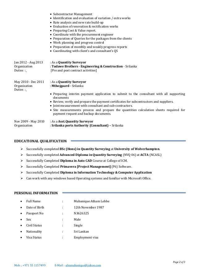 1. Quantity Surveyor CV [Degree in QS, 6 Years Experience] 6
