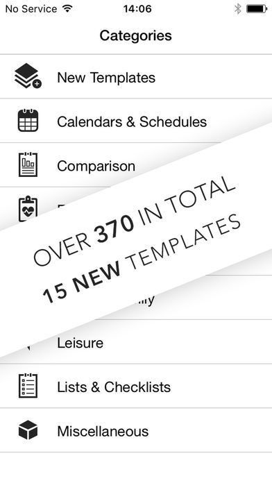Templates for Numbers on the App Store