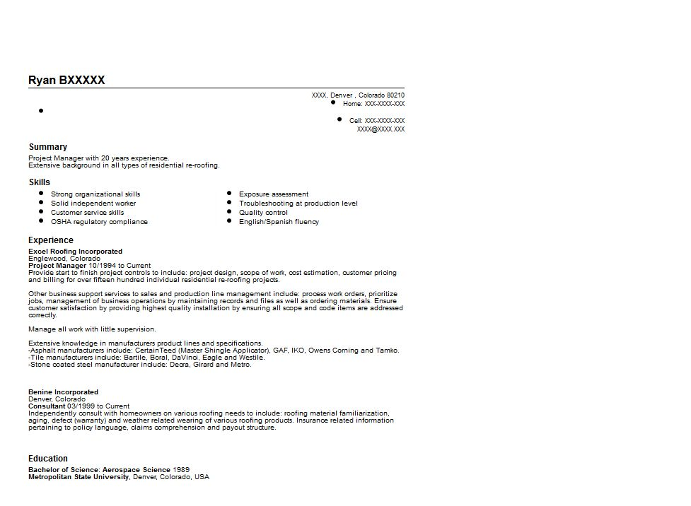 Construction Project Manager Resume Sample | Quintessential LiveCareer