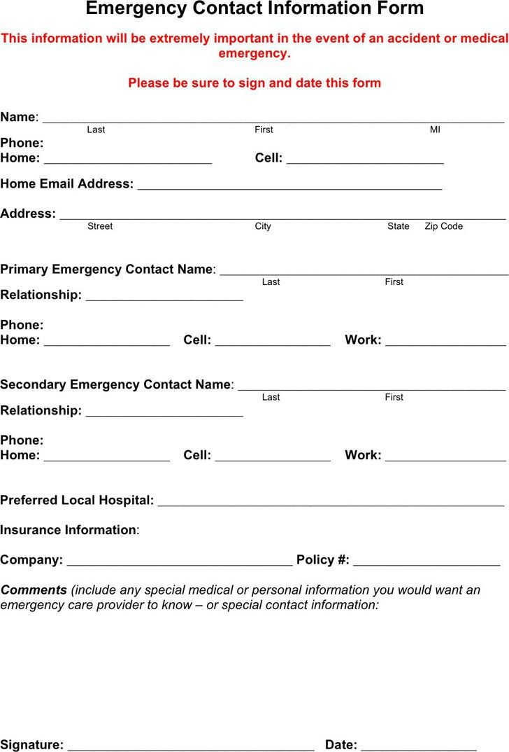 Emergency Contact Form. 7+ Employment Emergency Contact Form ...
