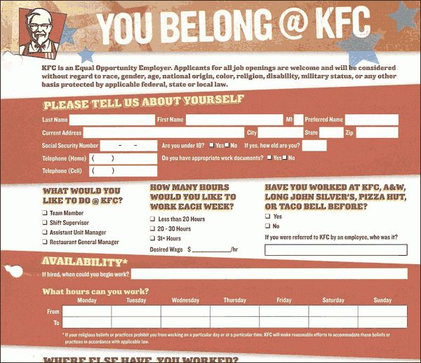 KFC Application - Online Job Employment Form