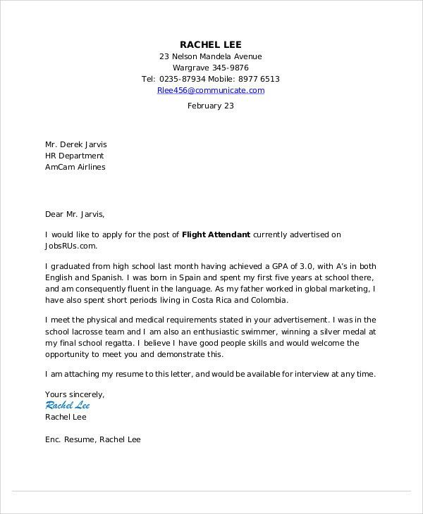 Flight Attendant Cover Letter - 8+ Free Word, PDF Format Download ...