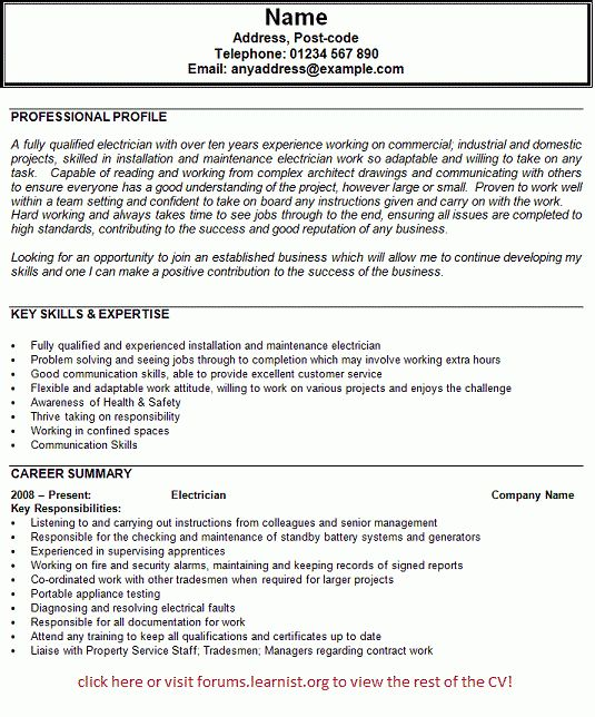 Electrician CV Example - forums.learnist.org