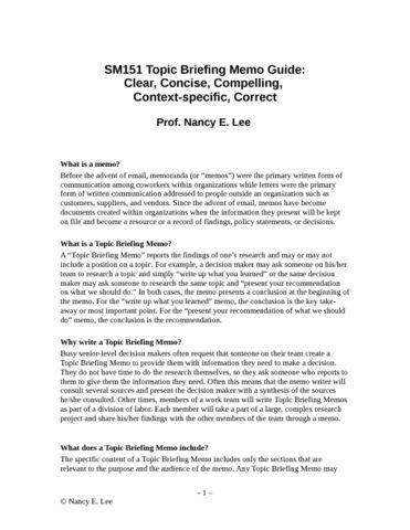 CAS CS 101 Exam Notes: Topic+Briefing+Memo+Guide.docx | OneClass