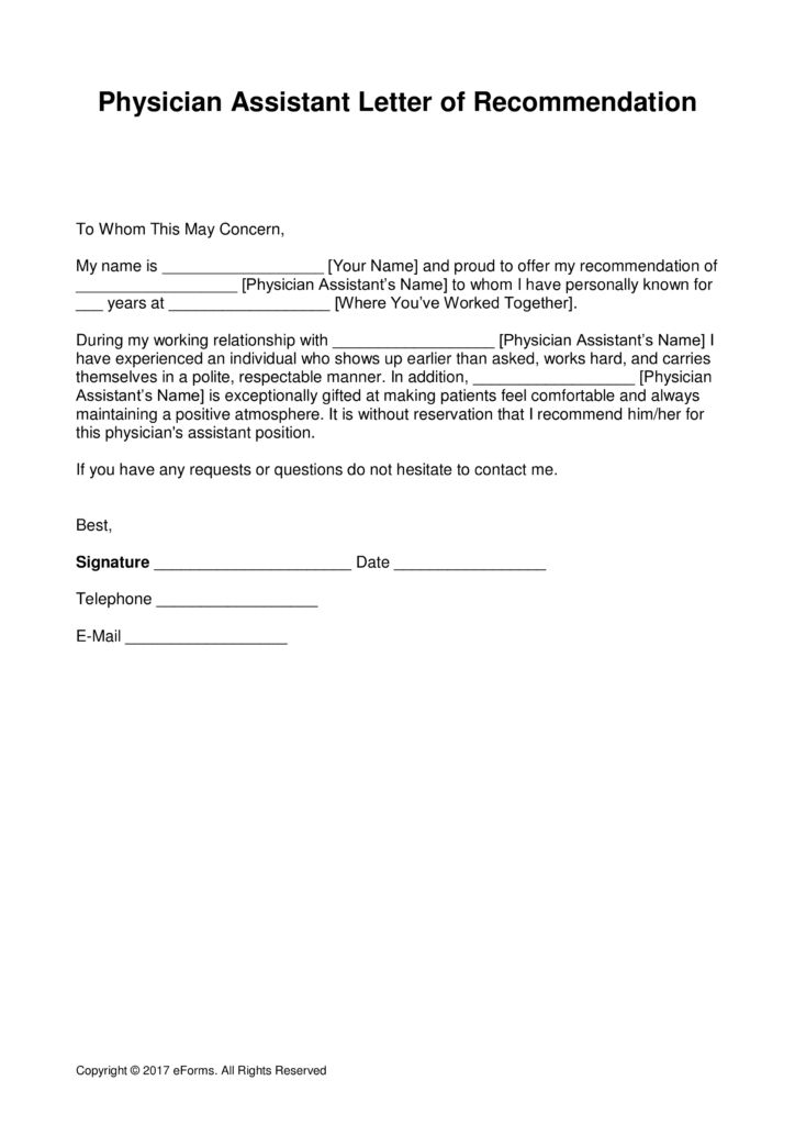 Free Physician Assistant Letter of Recommendation Template - with ...