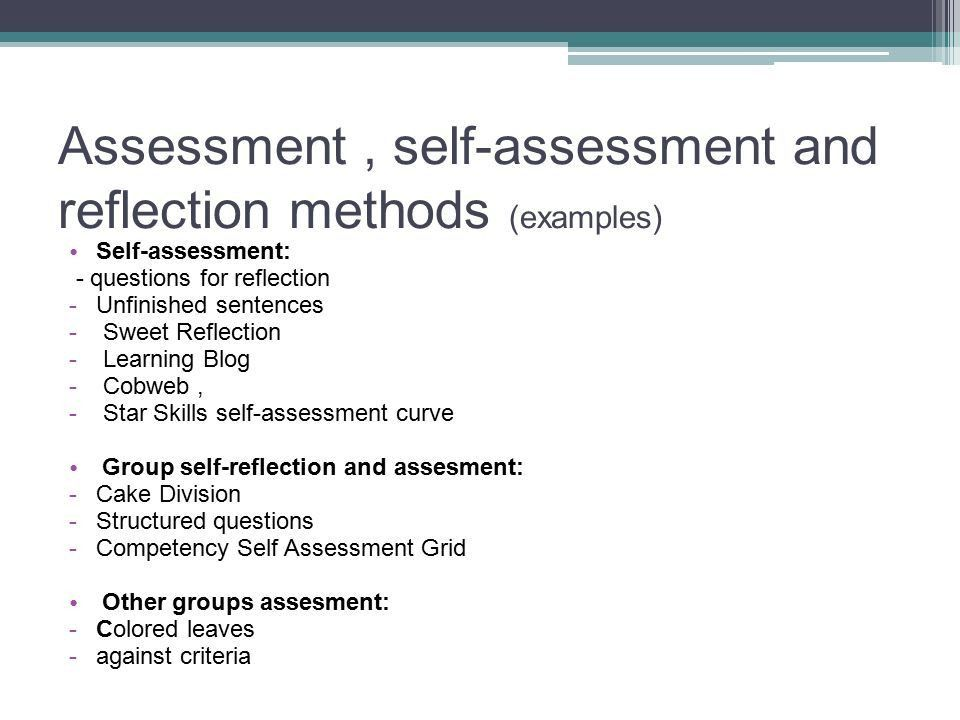 Example self reflection essay