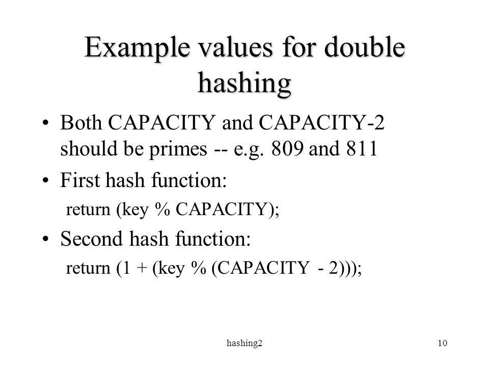 Hashing21 Hashing II: The leftovers. hashing22 Hash functions ...
