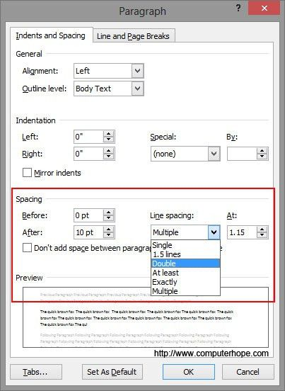 How to double space or change line spacing in Microsoft Word