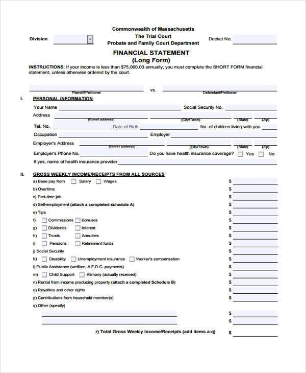 Financial Statement Form. Download The Personal Financial ...