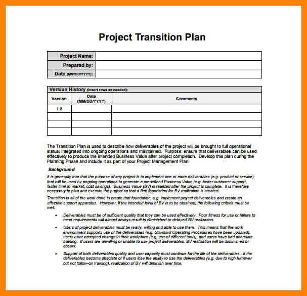 4+ employee transition plan template | guarantee letter