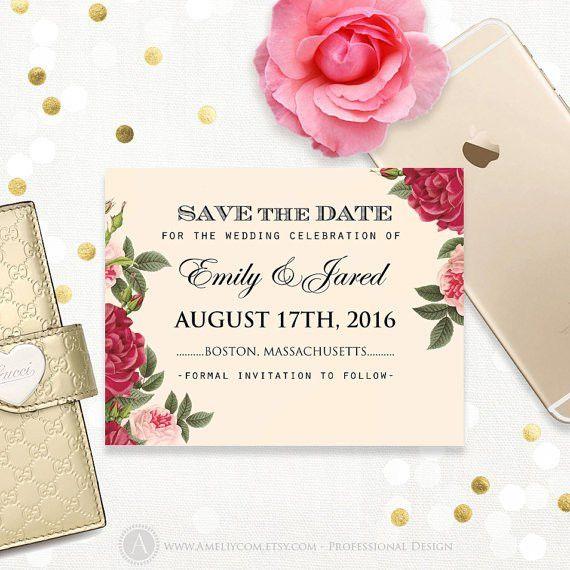 Printable Save the Date Burgundy & Blush Pink Roses Wedding