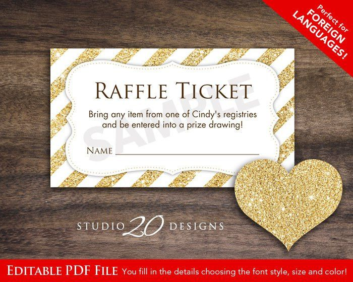 Instant Download Raffle Ticket Editable Pdf DIY Printable