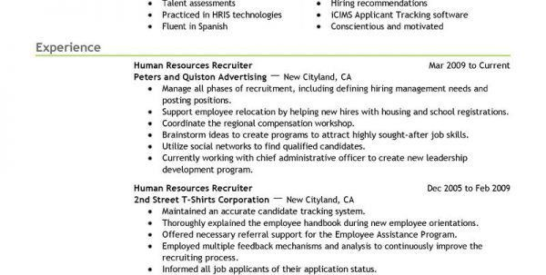 Staffing Recruiter Resume Objective Staffing Agency Recruiter ...