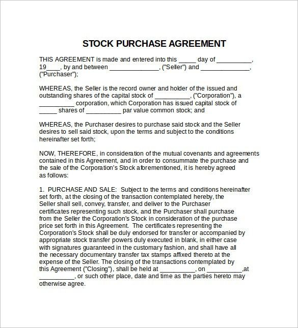 Stock Purchase Agreement - 6+ Download Free Documents in PDF, Word