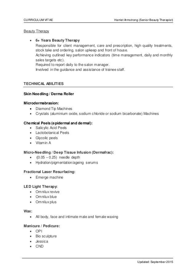 Curriculum Vitae - Harriet Armstrong August 2015-2