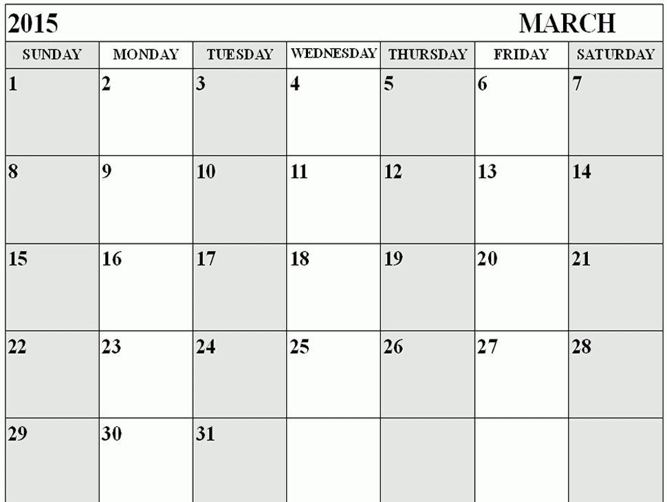 blank calendars 2015