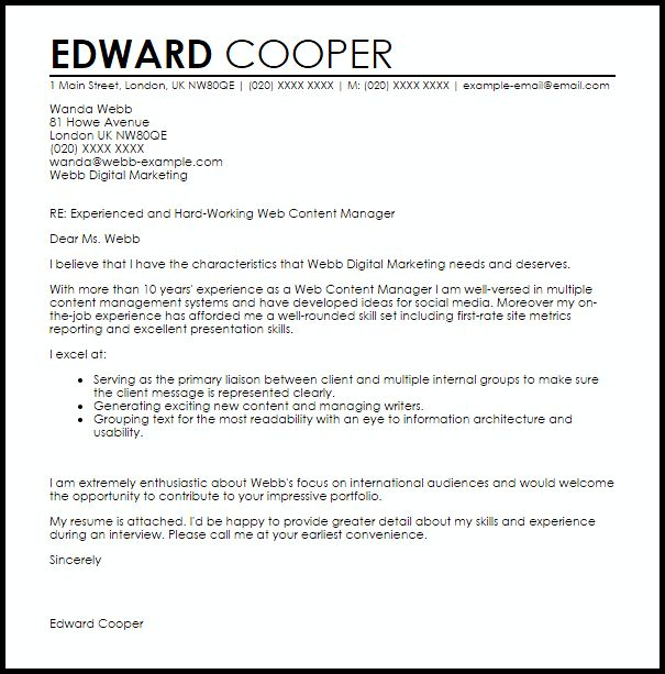 Web Content Manager Cover Letter Sample   LiveCareer