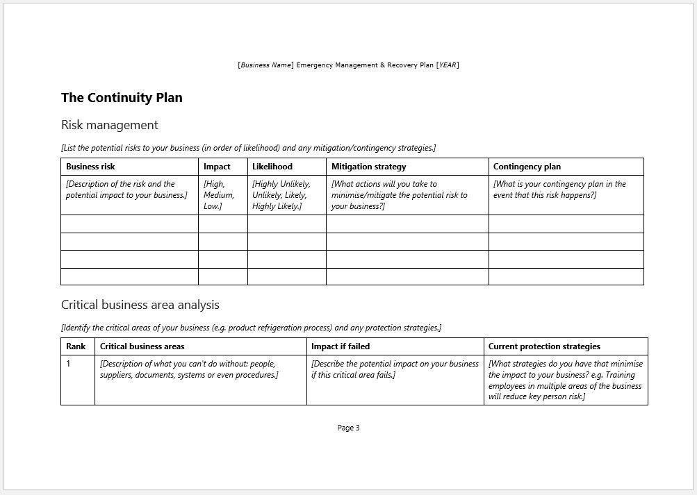Emergency Management Recovery Plan Template – Clickstarters