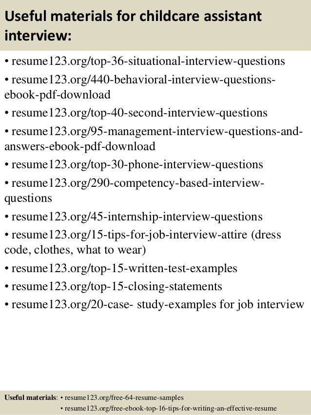 Top 8 childcare assistant resume samples
