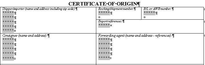 Certificate of Origin Form.com