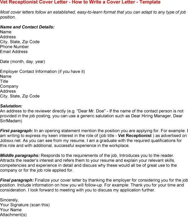 Veterinary Clinic Receptionist Cover Letter Cover Letter Examples ...