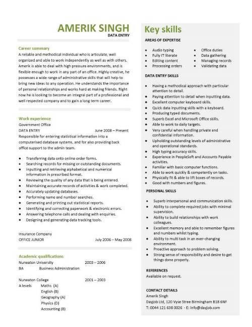 data entry resume, templates, clerk, CV, jobs from home, keyboard ...