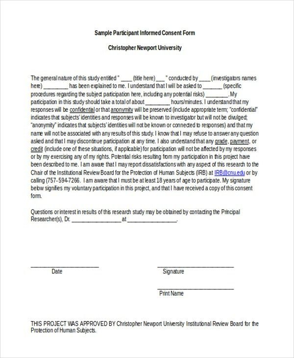 Sample Informed Consent Forms - 11+ Free Documents in Word, PDF