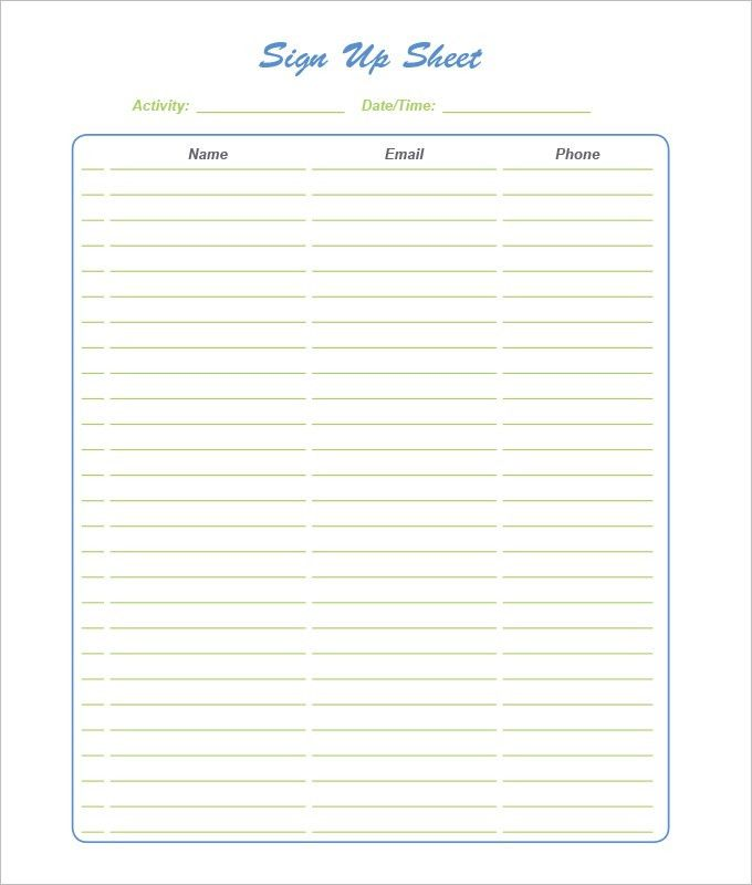 21+ Sign Up Sheet Templates - Free Word, Excel & PDF Documents ...