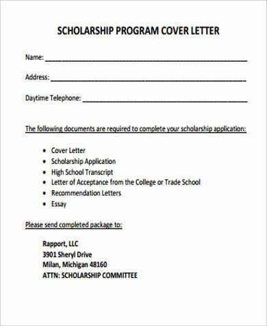 Cover Letter for Scholarship - 5+ Examples in Word, PDF