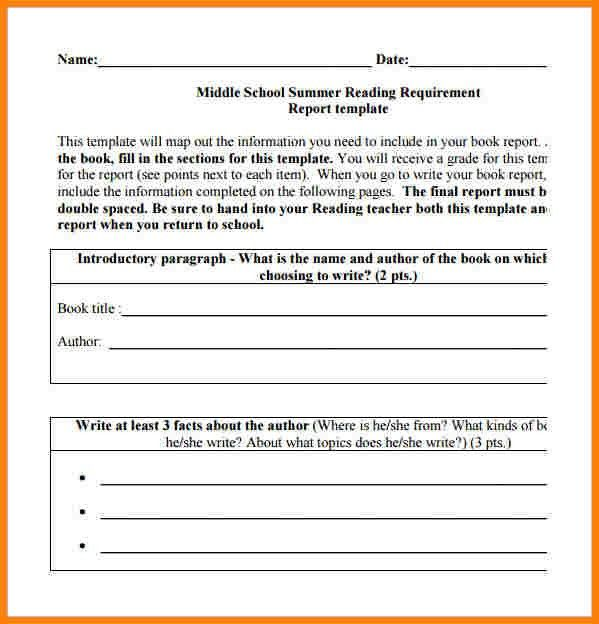7+ book report template middle school | inventory count sheet