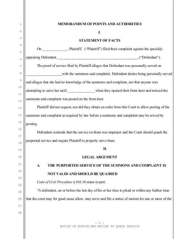 Sample motion to quash service for California eviction