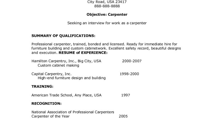Carpenter Resume Objective summary of qualifications - Writing ...