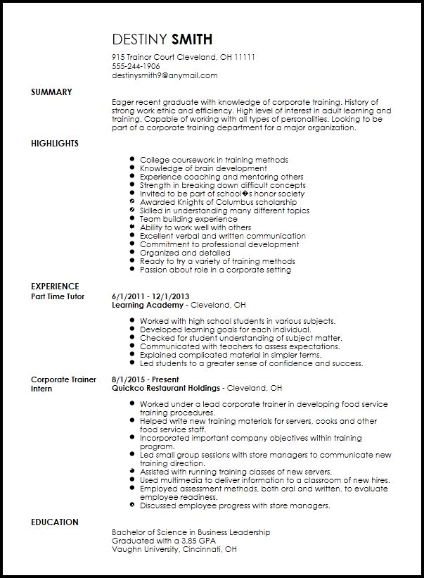 Free Entry Level Corporate Trainer Resume Template | ResumeNow