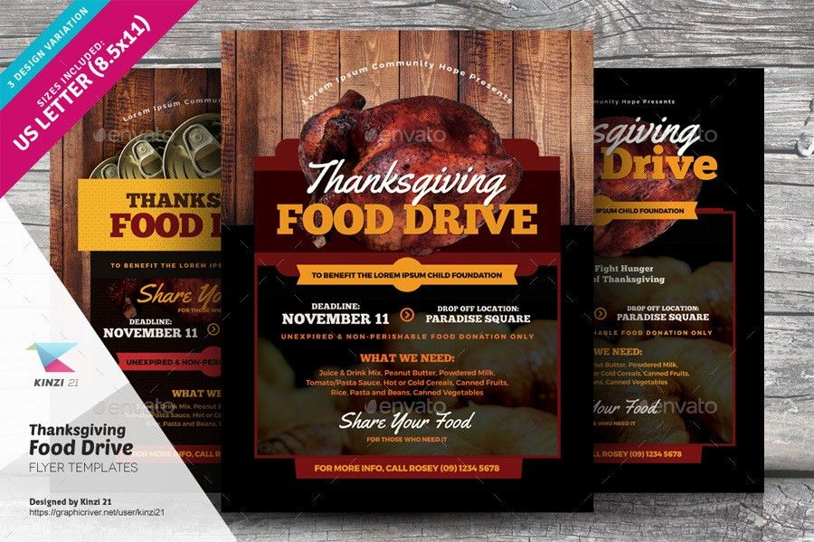 Thanksgiving Food Drive Flyer Templates by kinzi21 | GraphicRiver