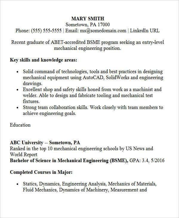entry level mechanical engineer resume