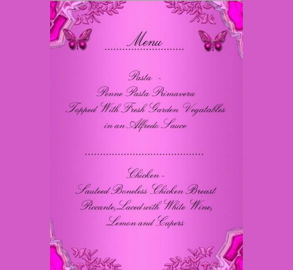 25+ Birthday Menu Templates – Free Sample, Example, Format ...