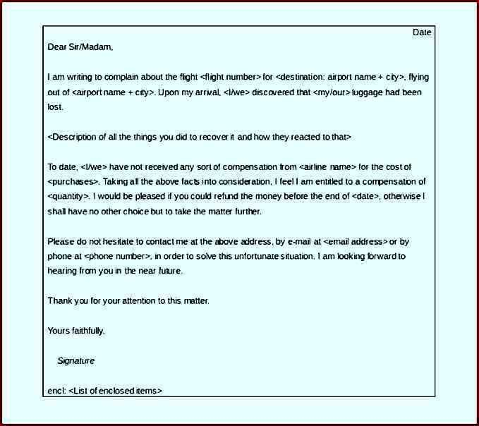 Complaint Letter Airlines & Lost Luggage Word Format - Template ...