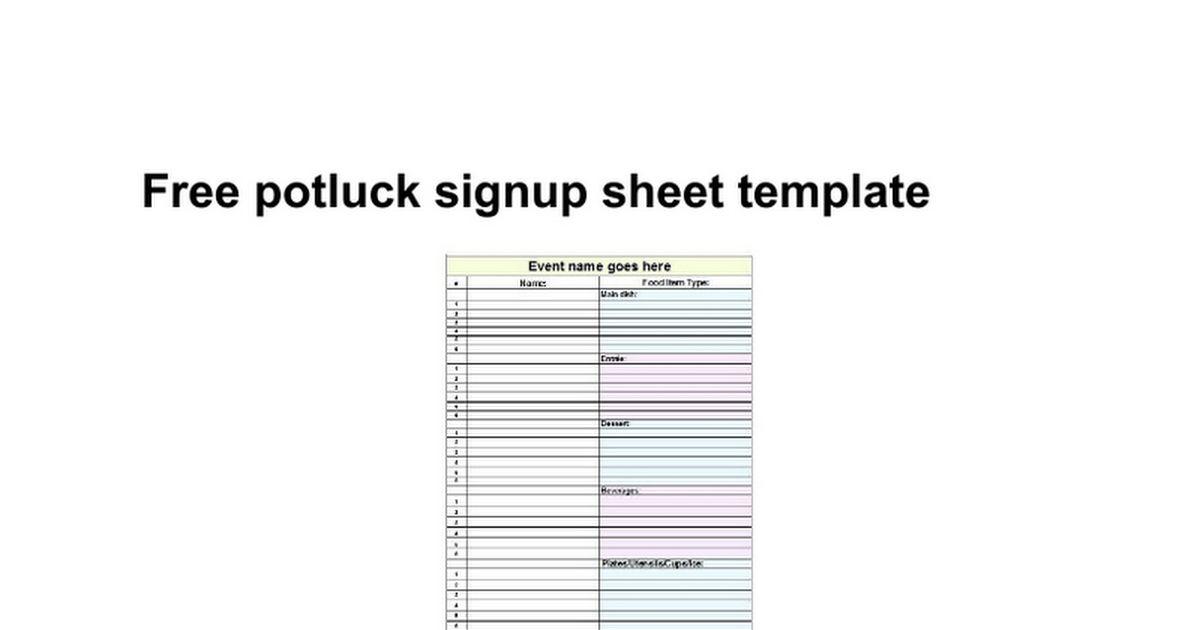 Free potluck signup sheet template - Google Docs