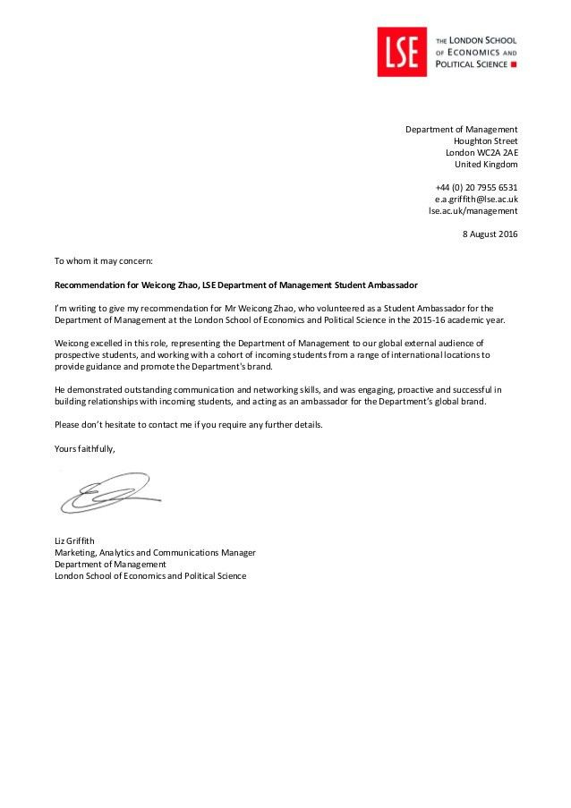 Reference Letter For Student. Letter College Recommendation Letter ...