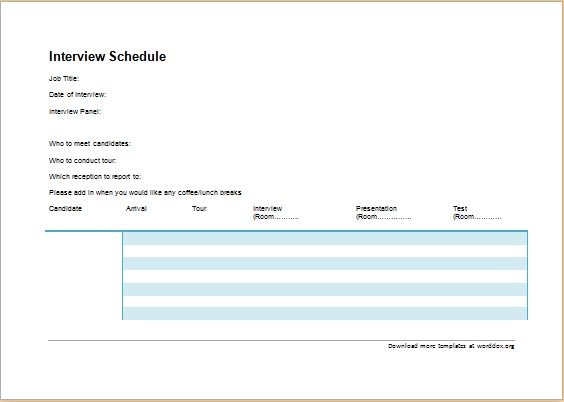 Official Interview Schedule Template | Word Document Templates